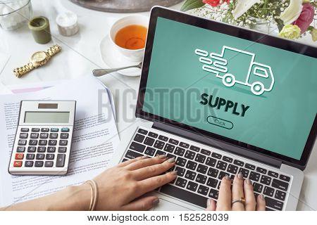 Import Export Shipment Truck Graphic Concept