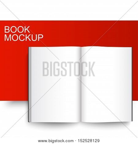 Blank Book mockup template. Closed magazine. Red Line series. Realistic vector EPS10 illustration.