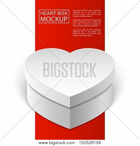 Realistic blank white box in heart shape. For valentines day or love presents design. Red Line series. Realistic vector EPS10 illustration.