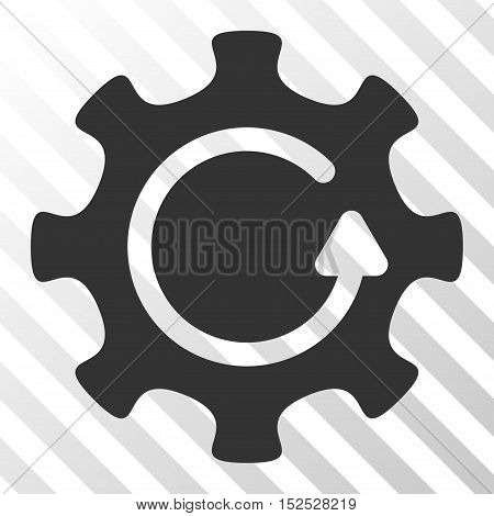 Gray Cog Rotation Direction interface pictogram. Vector pictogram style is a flat symbol on diagonal hatch transparent background.
