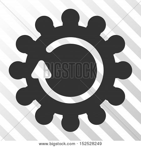 Gray Cog Rotation interface icon. Vector pictograph style is a flat symbol on diagonal hatch transparent background.