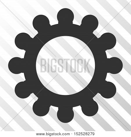 Gray Cog toolbar icon. Vector pictograph style is a flat symbol on diagonal hatch transparent background.