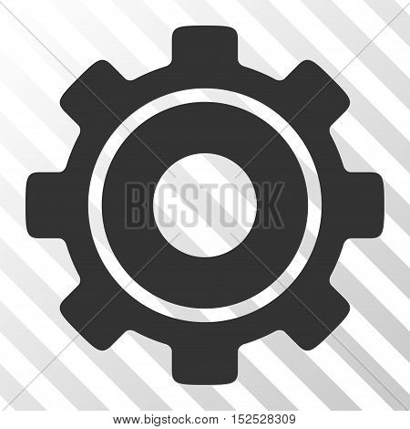 Gray Cog toolbar pictogram. Vector pictograph style is a flat symbol on diagonal hatch transparent background.