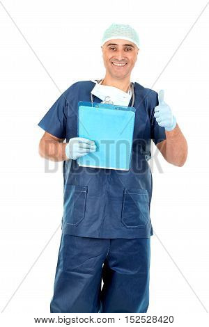 Happy doctor isolated against a white background