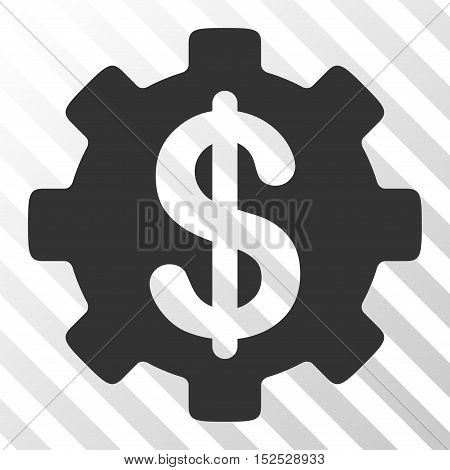 Gray Development Cost interface icon. Vector pictogram style is a flat symbol on diagonal hatch transparent background.