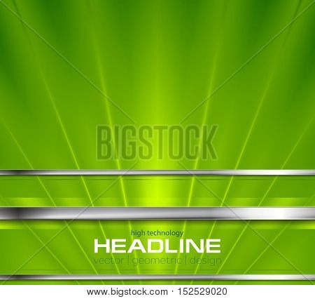 Bright green beams and silver stripes design. Tech metallic vector background