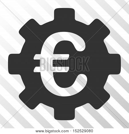 Gray Euro Development Gear interface toolbar pictogram. Vector pictograph style is a flat symbol on diagonal hatch transparent background.