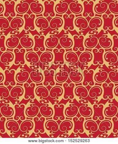 Graphic elements - baroque vignette seamless pattern. Eps 10