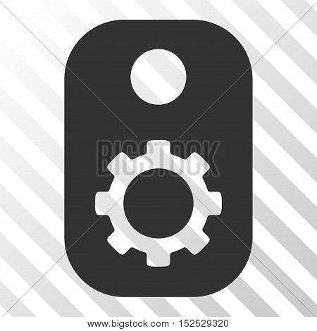 Gray Gear Tag toolbar icon. Vector pictogram style is a flat symbol on diagonal hatch transparent background.