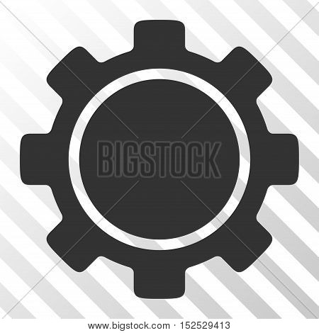 Gray Gear interface pictogram. Vector pictograph style is a flat symbol on diagonal hatch transparent background.