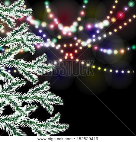Christmas tree. Bright festive lights. Vector illustration