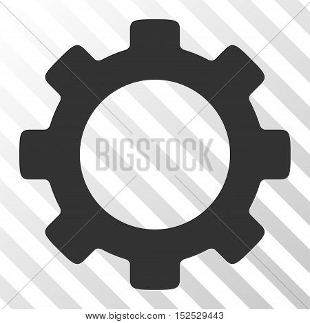 Gray Gear toolbar pictogram. Vector pictogram style is a flat symbol on diagonal hatch transparent background.