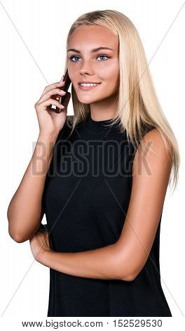 Young beautiful woman speaks on the phone isolated on white