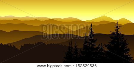 Gold evening at the mountains. Vector illustration.
