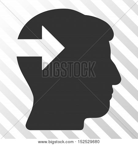 Gray Head Plug-In Arrow interface toolbar pictogram. Vector pictograph style is a flat symbol on diagonal hatch transparent background.