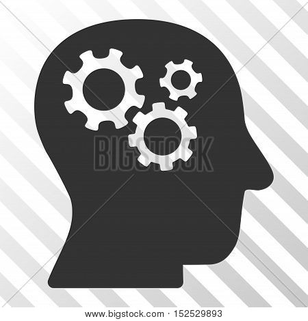 Gray Intellect Gears toolbar pictogram. Vector pictogram style is a flat symbol on diagonal hatch transparent background.