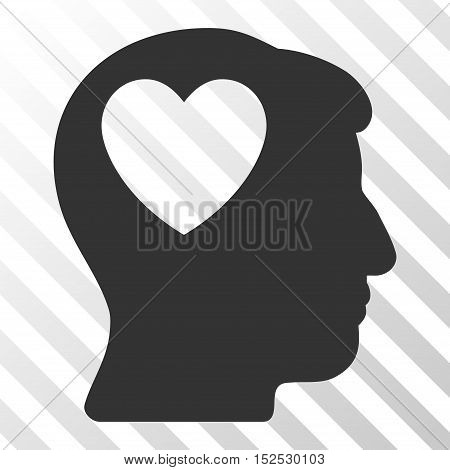 Gray Love Heart Think toolbar icon. Vector pictogram style is a flat symbol on diagonal hatch transparent background.