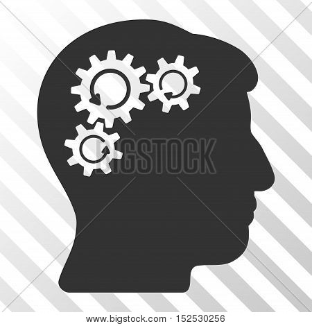 Gray Mind Gear Rotation interface pictogram. Vector pictograph style is a flat symbol on diagonal hatch transparent background.