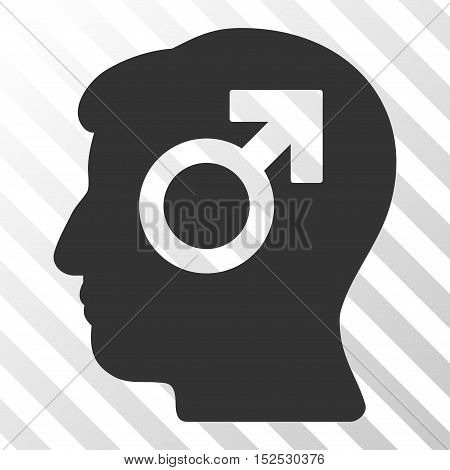 Gray Mind Potency toolbar pictogram. Vector pictogram style is a flat symbol on diagonal hatch transparent background.