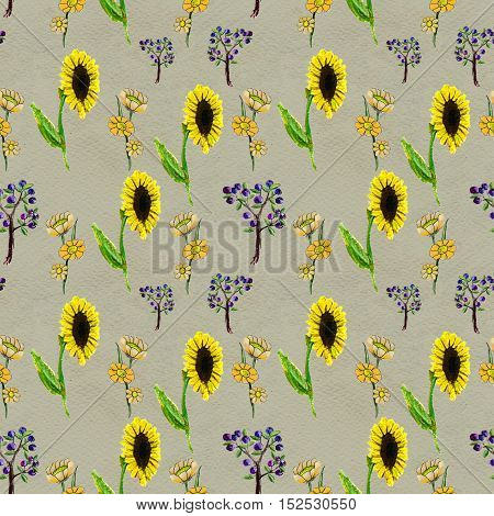 Seamless pattern with sunflowers and berries. Floral watercolor background.