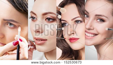 Collage of women faces with brushes applying perfect make-up.