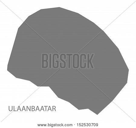 Ulaanbaatar Mongolia Map grey illustration high res