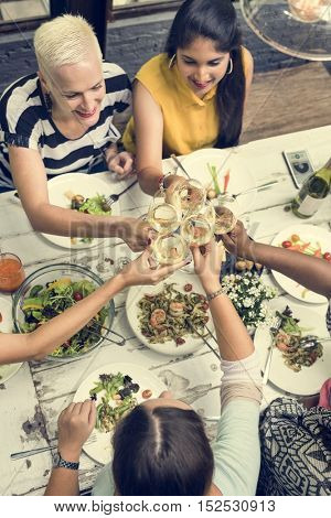 Woman Communication Dinner Together Concept