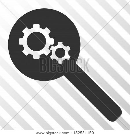 Gray Search Gears Tool interface icon. Vector pictograph style is a flat symbol on diagonal hatch transparent background.