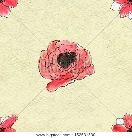 Seamless pattern with red poppy flowers. Floral watercolor background.