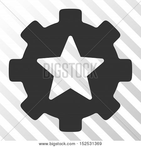 Gray Star Favorites Options Gear interface icon. Vector pictogram style is a flat symbol on diagonal hatch transparent background.