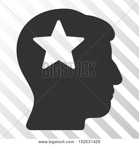 Gray Star Head interface toolbar icon. Vector pictograph style is a flat symbol on diagonal hatch transparent background.