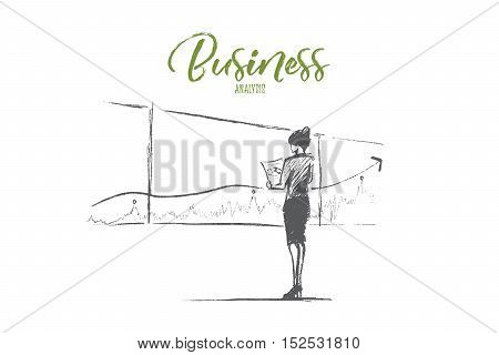 Hand drawn business analysis sketch and success concept. Business woman in office clothes standing and looking at presentation of positive dynamics and business analysis. Lettering Business analysis