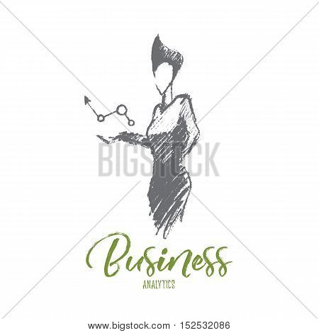 Vector hand drawn business analytics sketch and success concept. Business woman holding symbol of positive business dynamics in hands. Lettering Business analytics