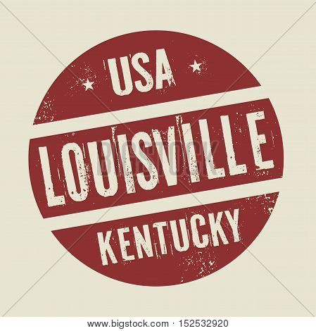 Grunge vintage round stamp with text Louisville Kentucky vector illustration