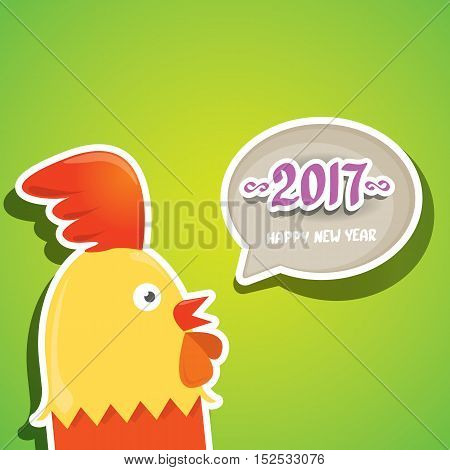 Happy Chinese new year 2017 with cartoon funny rooster , animal symbol of new year 2017. vector happy new year background