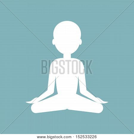 Man meditates in the Lotus position. Yoga concept. Vector illustration