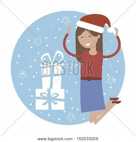 Happy young girl in the hat of Santa Claus jumping for joy near xmas gifts. Christmas Holiday vector illustration flat design for greeting card, poster, banner.