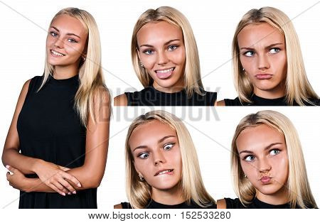 Collage of young funny woman showing grimace isolated on white