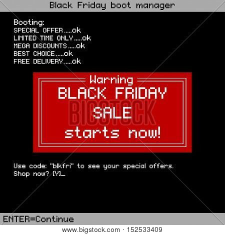 Black Friday sale background in old computer style. Vector template for Black Friday.