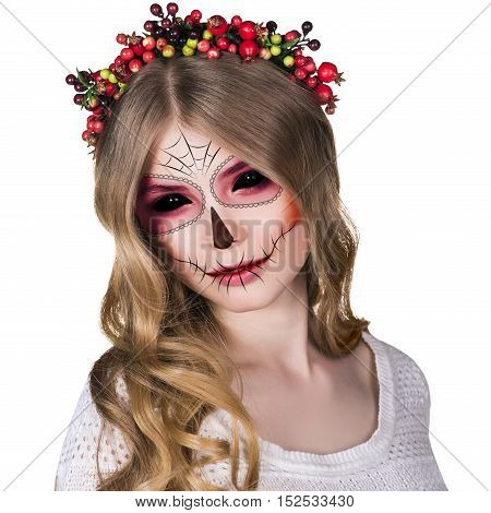 Beautiful young woman in day of the dead mask skull face art, isolated on white