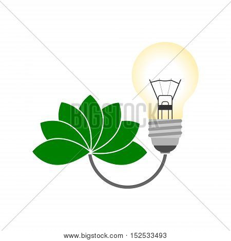 Renewable energy designs (eco icons), bulb and green leaf