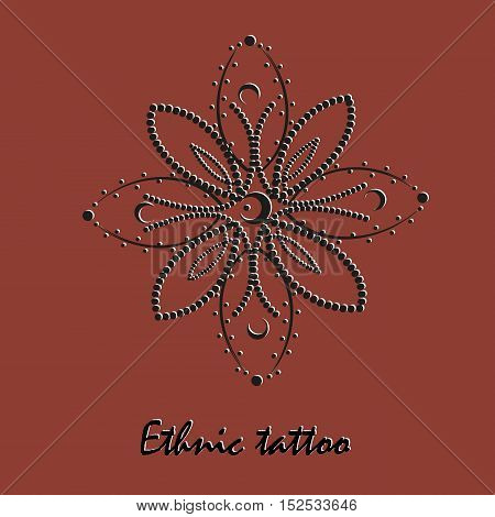 Ethnic ornament for tattoo Symmetric flower style pointillism month black  high resolution petals point ornament Folk mehendi design author background text vector illustration eps10 stock