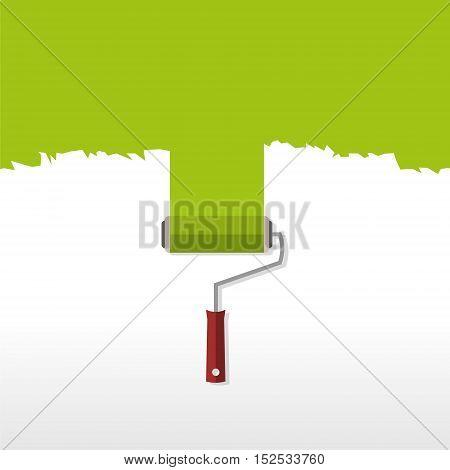 Logo design, green roller brush sign icon