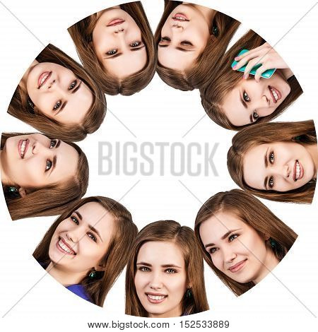 Collage of woman with different emotions in circle. Frame with copy space