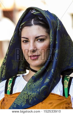 SELARGIUS, ITALY - September 14, 2014: Former marriage Selargino - Sardinia - portrait of a beautiful woman in traditional Sardinian costume