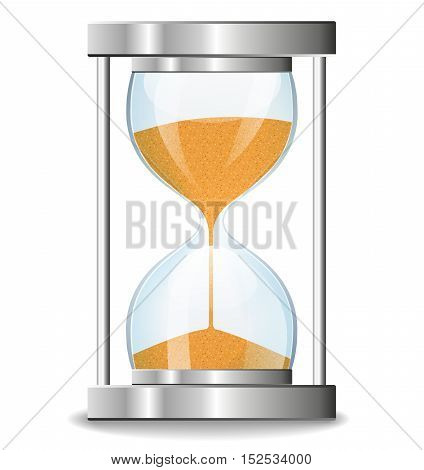 Illustration of hourglass design on white background