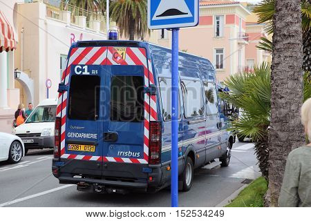Menton France - May 14 2016: Police (Gendarmerie) Van Minibus Irisbus Durisotti at the City Street in Menton French Riviera