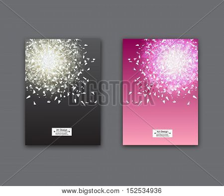Beautiful book, flyer cover design set. Abstract glass explosion pieces. New trendy A3 format posters in black and pink colors.