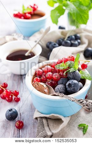 Delicious chocolate dessert with berries and mint served in ramekin.