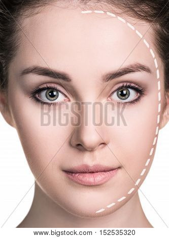 Beautiful woman face with correction line. Isolated on white background.
